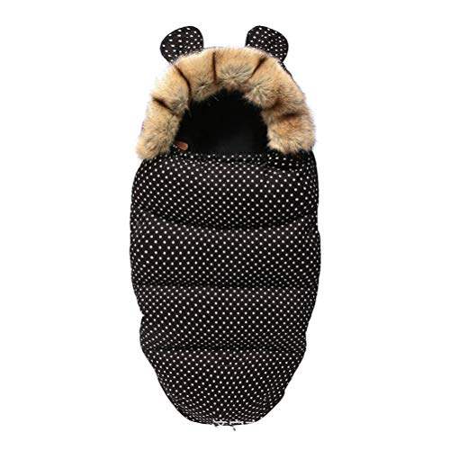 FTW Kinderwagen Schlafsäcke Umschläge Für Kleinkinder Rollstuhl Fußsack Winter Aus Winddichtem Fleece Warm Soft Schlafsack (Color : Spotted Black)