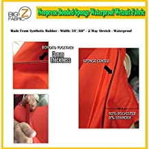 BIGZFABRIC Neoprene Bonded Sponge Waterproof Wetsuit Fabric Red 3mm Thick Sold by The Foot and Yard (1 Foot)