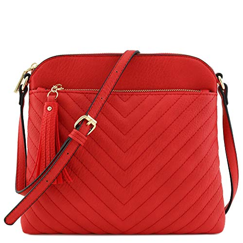 Chevron Quilted Medium Crossbody Bag with Tassel Accent (Tomato Red)