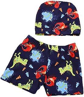 男の子 キッズ 子供 水着 海パン トランクス 上下 2点セット 帽子セット スイムキャップセット スイムウェア 怪獣 モンスター 恐竜 ネイビー 100-110cm