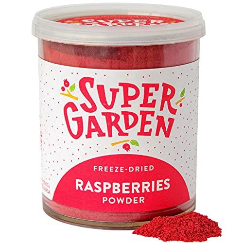 Poudre de framboises lyophilisées Super Garden - 100% pur et naturel - convient aux végétaliens - sans sucre ajouté, sans additifs artificiels et sans conservateurs - sans gluten - sans OGM