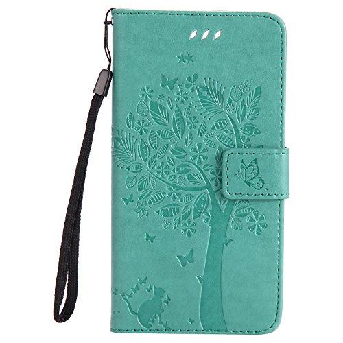 LODROC [Huawei P10 Plus] Hülle, TPU Lederhülle Magnetische Schutzhülle [Kartenfach] [Standfunktion], Stoßfeste Tasche Kompatibel für Huawei P10Plus - LOKT0101078 Grün