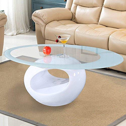 Mecor Contemporary Glass Coffee Table with Round Hollow Shelf - Modern Oval Design End Side Coffee Table with Tempered Clear Glass Top Gloss White - Living Room Furniture