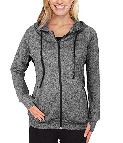 Timeson Women Hoodie Jacket, Women Athletic Burnout Light Weight Soft Hoodie Black Zip Up Swaetshirts Sport Wear Junior Girl Multicolor Black Medium
