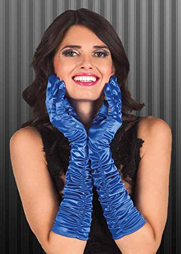 Struts Fancy Dress Mesdames 20 s Bleu Gants Flapper Satin ruché