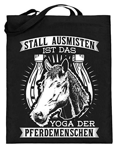 Chorchester Stall Ausmisten Für Alle Pferd Pony Fans - Jutebeutel (mit langen Henkeln) -38cm-42cm-Schwarz
