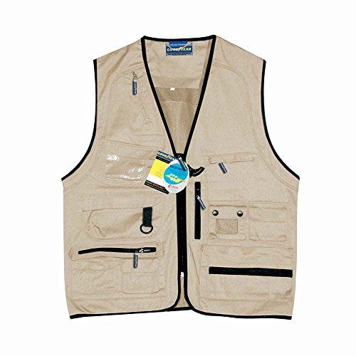 Weste Multipocket Goodyear aus Polyester und Baumwolle Farbe Khaki, beige