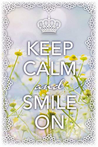 """Cartel de chapa de metal con texto """"Keep Calm & Smile On"""", 20 x 30 cm"""