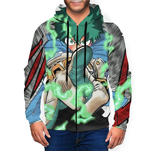 Wmake Daily Street Youth Men Realistic 3D Print Hoodie, HeroAca Bnha Anime Hero Deku Fanart Zip-Up Jacket Clothes, Personalized Long Sleeve Soft Hooded Outerwear for Winter Gym Baseball