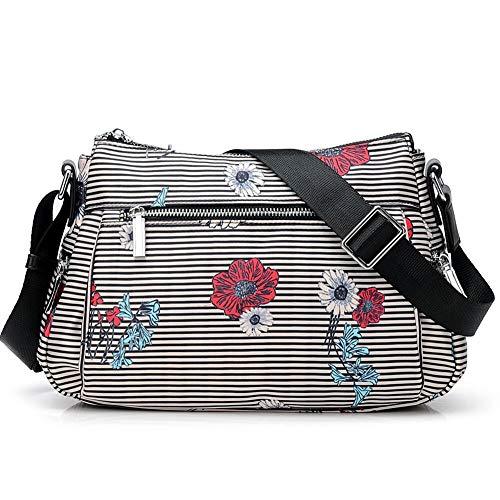 ZMDB Nylon Umhängetasche für Herren/Damen Gestreift, Wasserdichte und Leichte Handtasche mit Verstellbarem Riemen, Diebstahlsicherer Strapazierfähige Wickeltasche für Mutter Säuglingspflege Einkaufen