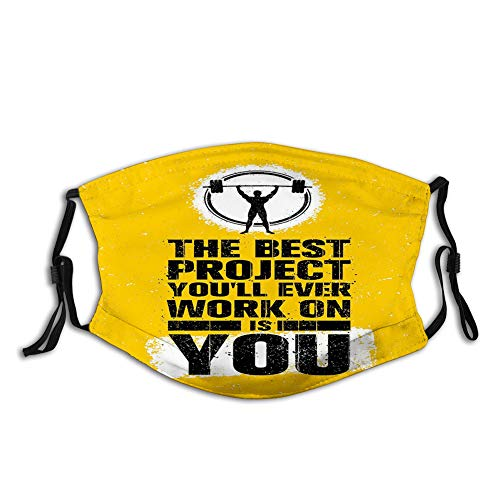 Face Mask Reusable Washable Masks Cloth for Men and WomenThe Best Project is You Phrase with Weightlifter Fit Body