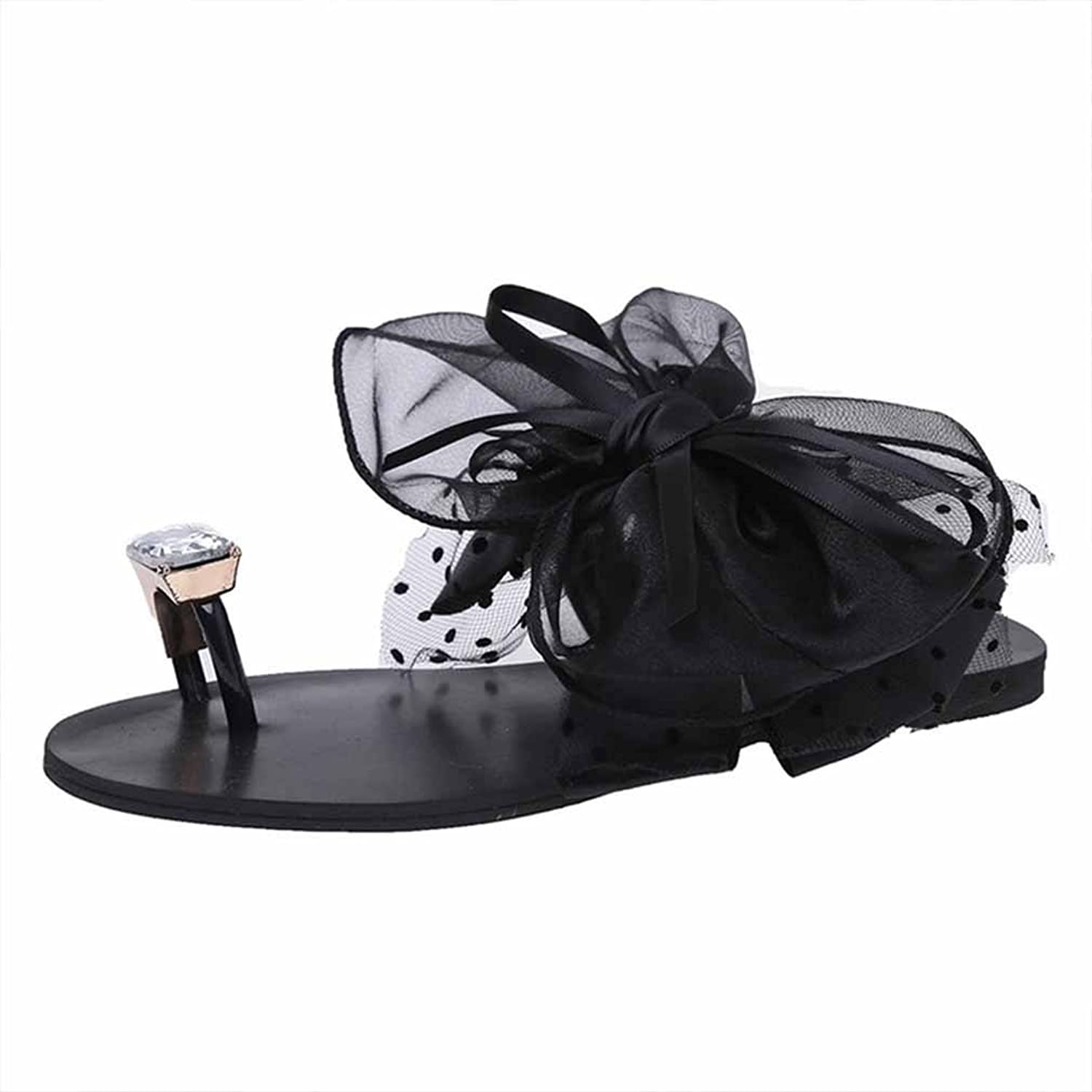 Kyle Walsh Pa Women Thongs Sandals,Casual Flower Toe Ring Flat Flip Flops Sandals Loafers Beach shoes