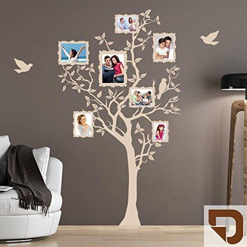 DESIGNSCAPE® Wandtattoo Baum für Fotos mit fliegenden Vögeln 66 x 120 cm (Breite x Höhe) lehmbraun DW807133-S-F88