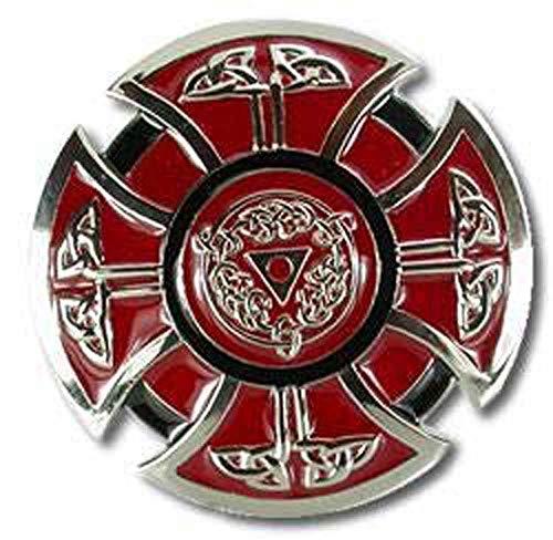 Mens Red Celtic Cross Belt Buckle Scottish Kilt Belt Buckle Fits Belts Up to 1.5 Inches Wide