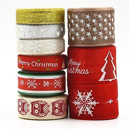 byou Nastri Natalizi,Nastro Natalizio 9 Stile 18 Metri Christmas Ribbon con Colore Diverso per Decorazione Natale Cucito DIY Rosso e Lino 1 cm 1.5 cm 2.5 cm in Larghezza