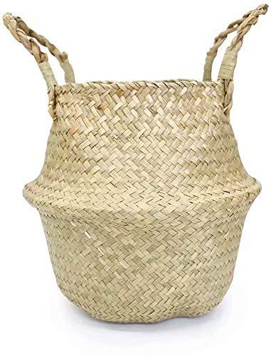 GIB cleaningtool Cestas de zacate marina tejida a mano natural cestas de almacenamiento para el hogar, cestas decorativas para plantas, bolsas de picnic con asas de playa, 26 cm