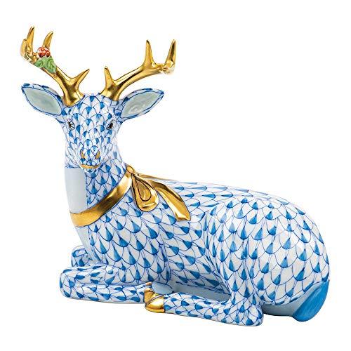 Herend Christmas Deer Lying Figurine Blue Fishnet
