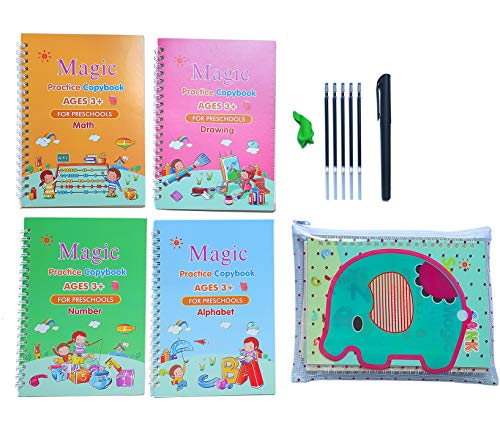 English Magic Practice Copybook Handwriting Practice Books for Kids Reusable Copybook Package Alphabet and Numbers(with Pen)