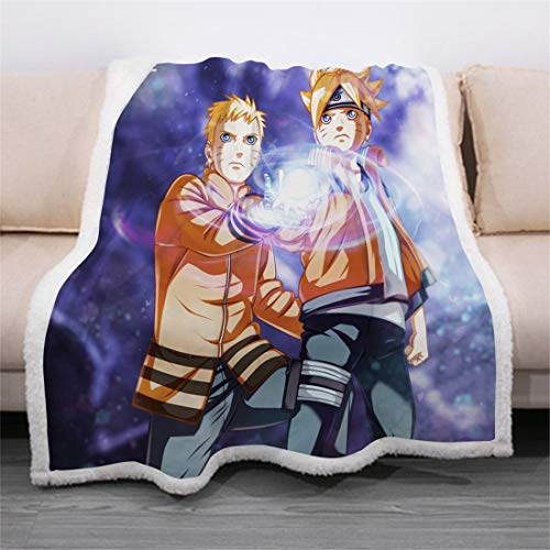 Naruto Wohndecken Kuscheldecken Japanisch Anime Couchdecke Sofadecke Schlafdecke Fleecedecke Tagesdecke Plüschdecke für Erwachsene Kinder,A,150*200CM
