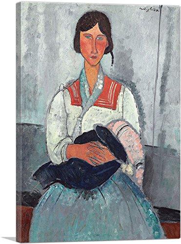 """ARTCANVAS Gypsy Woman with Baby 1919 Canvas Art Print by Amedeo Modigliani - 26"""" x 18"""" (1.50"""" Deep)"""