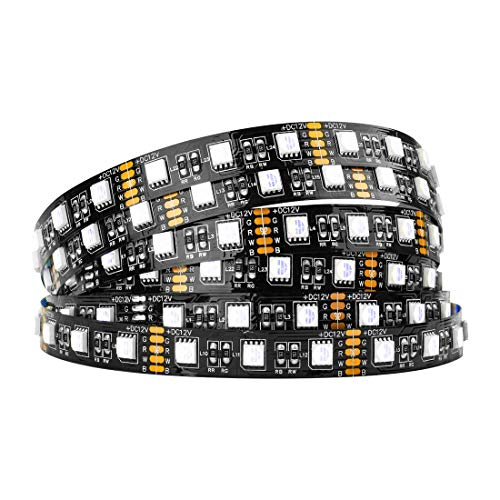 BTF-LIGHTING 5050 RGBW RGB + Clanco Frío (6000K-7000K) 4 Colores en 1 LED 5m 16.4ft 60LEDs / m Multi-Colored LED Tape Lights IP30 No Impermeable Negro PCB LED DC12V