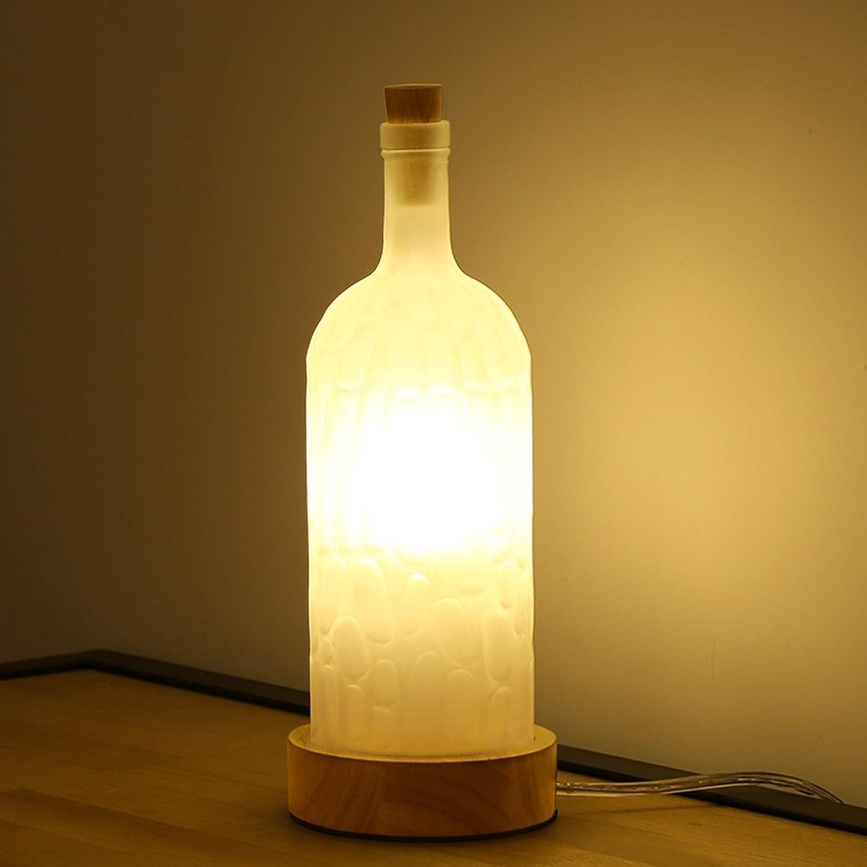 Pointhx Moderne Einfache Flasche Glas Tischlampe Holzsockel Kreative Schreibtisch Licht LED E27 Tischleuchte Für Cafe Hotel Restaurant Dekoration (Druckschalter)