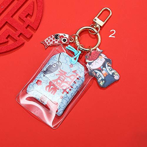SPDD Japanese Omamori Amulet Lucky Charm,Blessing Bag Pendant Dispel Misfortune Keyrings Bag Decoration Fish Maneki Neko Keychains(2)