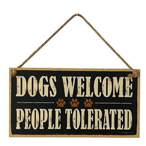 GARNECK Cani Benvenuti Persone Tollerate Cartello in Legno Fattoria Porta D'ingresso Portico Cartello di Benvenuto Targa Decorativa Ciondolo Appeso per Amanti degli Animali Domestici Casa