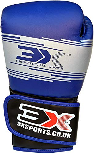 Kids Boxing Gloves 4oz 60z Boxing Gloves Junior for Training & Muay Thai - Maya Hide Leather MMA Mitts for Sparring Fighting Kickboxing Punch Bag Martial Arts Dummy Focus Pads Boys & Girls BLUE 4oz