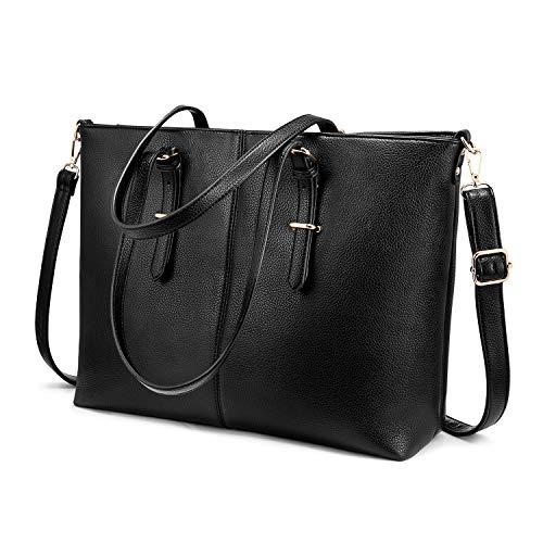Laptop Handtasche Damen 15,6 Zoll, LOVEVOOKElegant Schwarz Shopper Leder Tasche, Große Leichte Weiche Schultertasche Aktentasche für Business/Schule/Einkauf