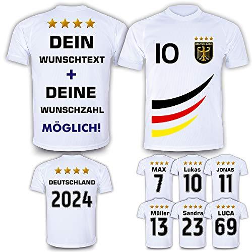 DE FANSHOP Deutschland Trikot mit GRATIS Wunschname + Nummer #D4 2021 2022 EM/WM Weiss - Geschenk für Kinder Jungen Baby Fußball T-Shirt personalisiert