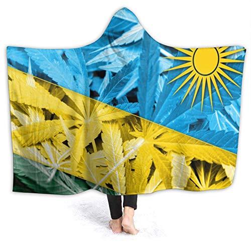 BCVHGD Kapuzendecke,Ruanda Flagge auf Marihuana Cannabis Hintergr&, Weiches Sherpa-Fleece Tragbares Deckenbett Home Sofa Travel 60 'X50'