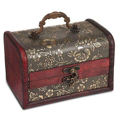 AOLVO Wooden Treasure Box Vintage Jewelry Box Scrigno del Tesoro Cofanetto Porta Gioielli Decorativi Treasure cassapanca Organizer per Donne 15x 10x 10cm