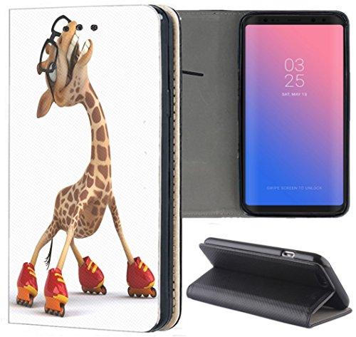 Samsung Galaxy A6 2018 Hülle Premium Smart Einseitig Flipcover Hülle Samsung A6 2018 Flip Case Handyhülle Galaxy A6 2018 Motiv (636 Giraffe mit Rollschuhen lustig Funny Cartoon Animiert Rot Braun)