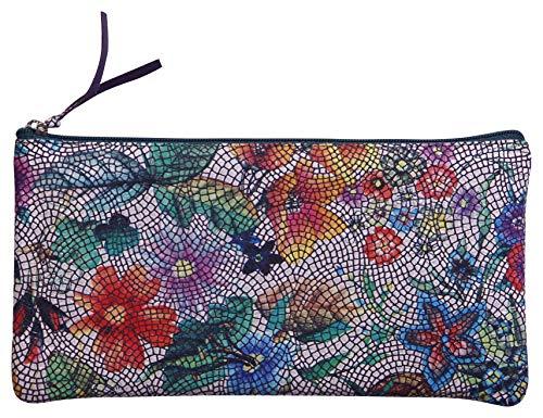 Clairefontaine 410103C Schlampermäppchen aus Leder Celeste Flach, 11 x 22cm, 1 Stück, Bunt