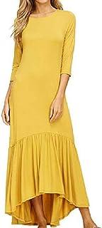 Zaimse Las Mujeres con Bolsillo Vintage Color Puro Flouncing Vestido drapeado hasta la Longitud Completa
