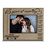 Bella BUSTA-15 Years of marriage-2005-2020-Months, Weeks, Days, Hours, Weeks, Minutes, Seconds-15th Anniversary- Engraved Leather Picture Frame (5 x 7 Horizontal)