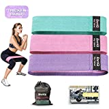 EnriQ Booty Bands Fabric Resistance Bands for Legs and Butt - Non Slip Cloth Hip Bands Elastic Workout Bands - Activate Glutes and Thighs - Made of Premium Elastic Fabric (Pink Purple Pale Turquoise)