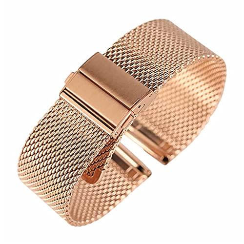 WGDPMGM Correa Reloj Correa de Acero Inoxidable Negro/Plata/Rosa Dorado 18mm / 20 mm / 22mm Malla de Reloj de Reloj Pliegue sobre Cierre (Band Color : Rose Gold Strap, Band Width : 18mm)