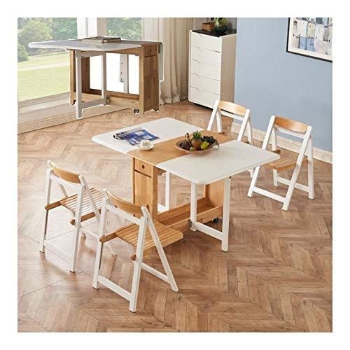 JIADUOBAO Juego de mesa de comedor plegable de madera maciza de 1,35 m, 4 sillas, diseño de mariposas, color natural