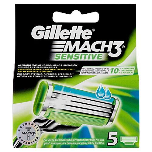 Gillette Mach3Sensitive Rasierklingen für Herren, 5-teilig
