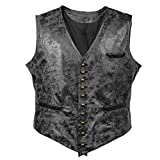 Bslingerie® Mens Steampunk Faux Leather Waistcoats Vest (M, Black Vest)