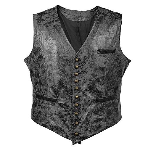 Bslingerie® Herren Steampunk Gothic Faux Leather Kostüm Weste (M, Schwarz Weste)
