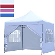 LEISURELIFE Heavy Duty 10'x10' Pop Up Canopy Tent with Sidewalls - Outdoor Folding Commercial Gazebo Party Tent White