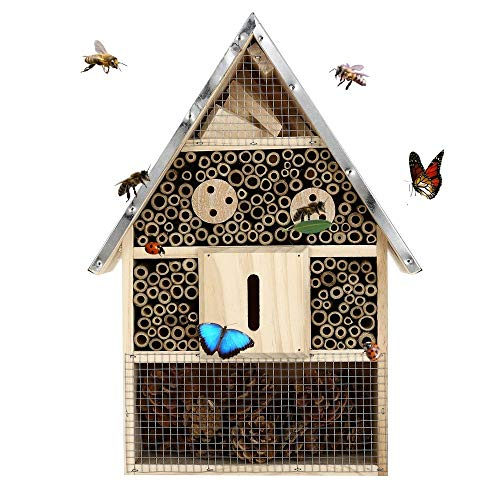 Buddy Wild Insect Hotel - 28x9.5x40cm Eco-Friendly Bug House for Bees Butterflies Insects in Garden - Kid Friendly Weather Resistant Hanging Bee Home from Natural Wood and Metal Roof