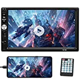 Double Din Car Stereo 7 Inch Bluetooth Car Radio LCD Touch Screen Car Indash Head Unit Support Mirror Link for Android/iOS, Handsfree USB AUX TF FM MP5 Player + Remote Control