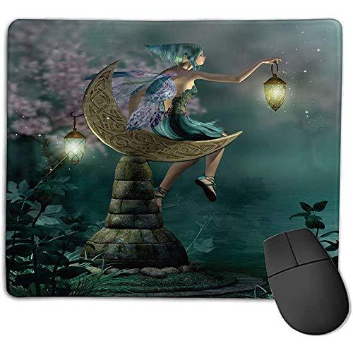 Mousepad Fantasía Pequeño duendecillo Linterna Sentado