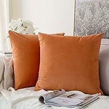 Pack de 2, MIULEE Terciopelo Suave Juego de Mesa de Manta de decoración Cuadrado Fundas de Almohada Funda de cojín para sofá dormitorio18 x 18 Pulgada 45 x 45 cm Naranja