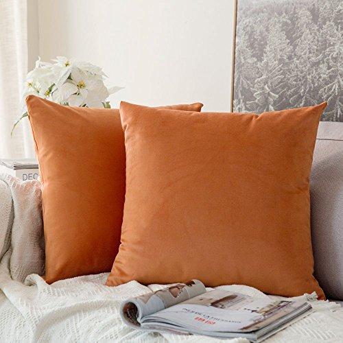 MIULEE Funda Cojines de Terciopelo para Sofa Super Suave Fundas de Almohada de Cama Silla Color Solido Cremallera Oculta Decoración para Sala de Estar Dormitorio Habitacion 2 Piezas 60x60cm Naranja