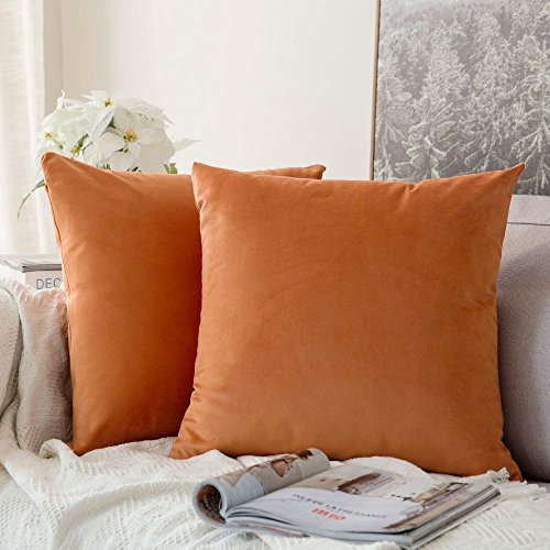 MIULEE Velvet Soft Soild Microfiber Decorative Square Pillow Case Throw Cushion Cover for Sofa Bedroom with Invisible Zipper 16x16 Inch 40x40cm Orange Set of 2 Lined